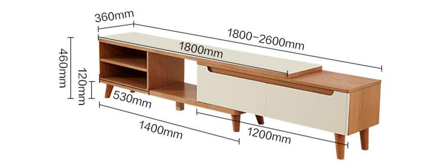 mẫu 1 chi tiết kích thước kệ tivi gỗ có thể kéo dài
