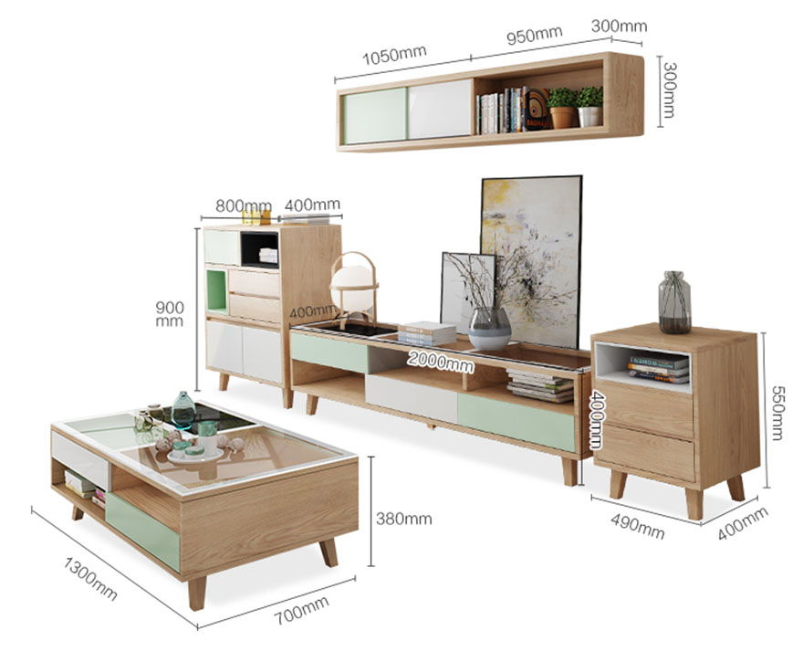 mẫu 7 bộ kích thước kệ tivi và bàn trà