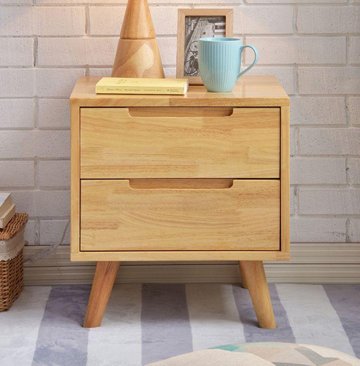 Tủ đầu giường gỗ cao su 2 ngăn kéo