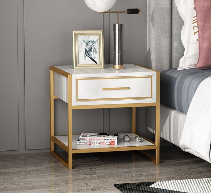 Tủ đầu giường khung chân inox mạ vàng đồng 2