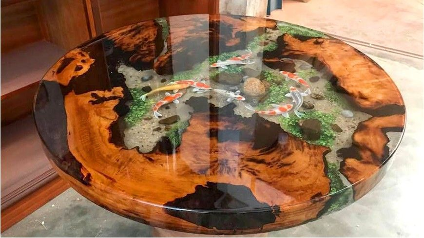 bàn trà gỗ me tây ứng dụng epoxy