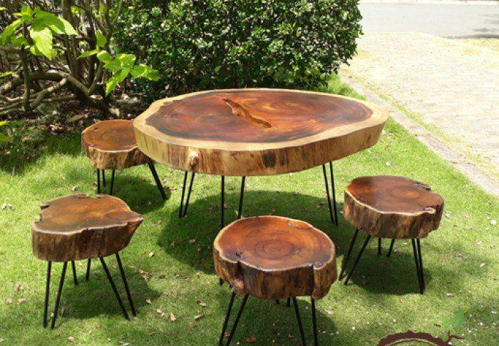 Bộ bàn ghế uống trà gỗ me tây ngoài trời