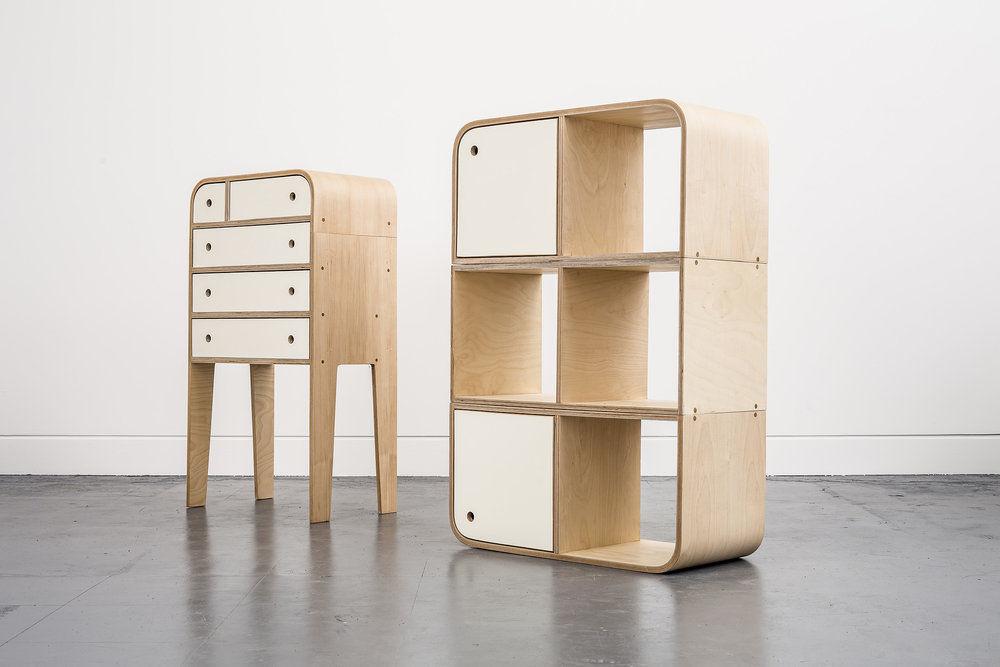Tủ trang trí Plywood uốn cong