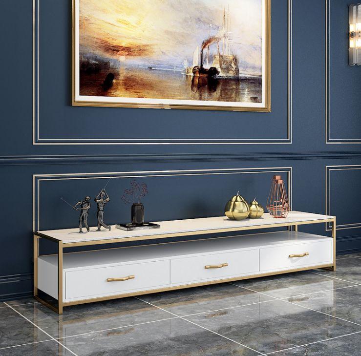 Kệ tivi phòng khách khung inox màu với đá và gỗ trắng
