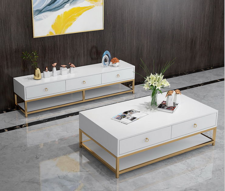Mẫu 10 kệ tivi và bàn trà 2 tầng đơng giản