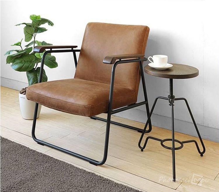 Ghế sofa đơn bọc simili khung chân sắt