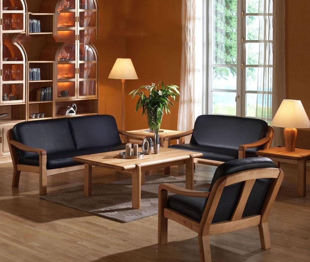 bàn ghế gỗ bọc vải bố