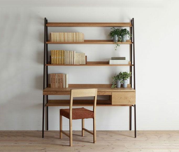 bàn gỗ kết hợp kệ sách