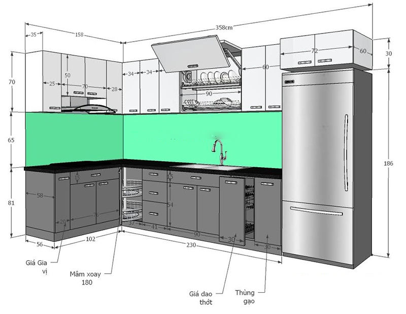 kích thước tủ bếp chuẩn trong nhà phố