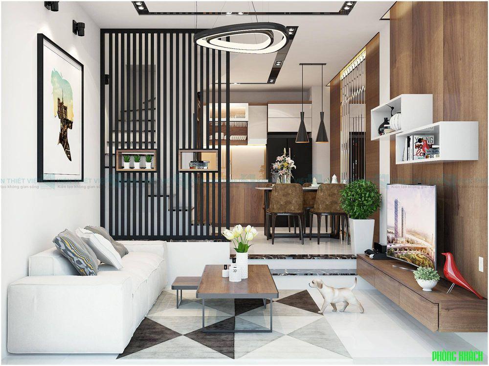 Thiết kế phòng khách nhà phố 4m ngang