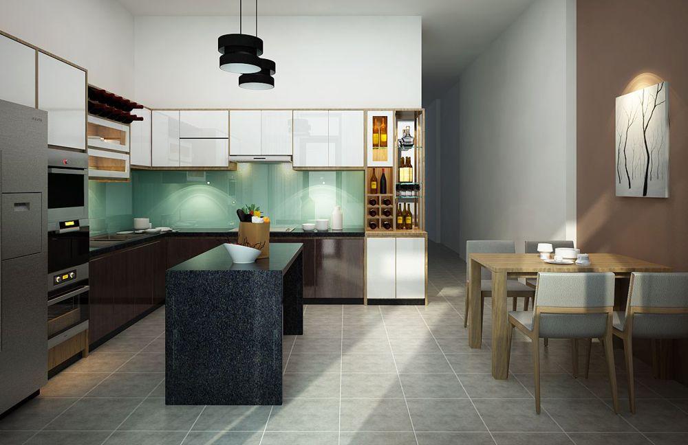 Mẫu thiết kế phòng bếp nhà phố đẹp 4