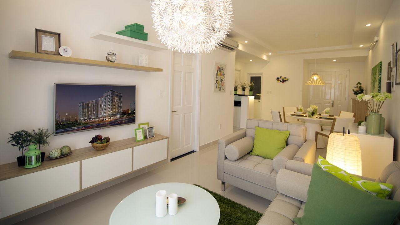 Phòng khách căn hộ mẫu chung cư Melody Residence Âu Cơ