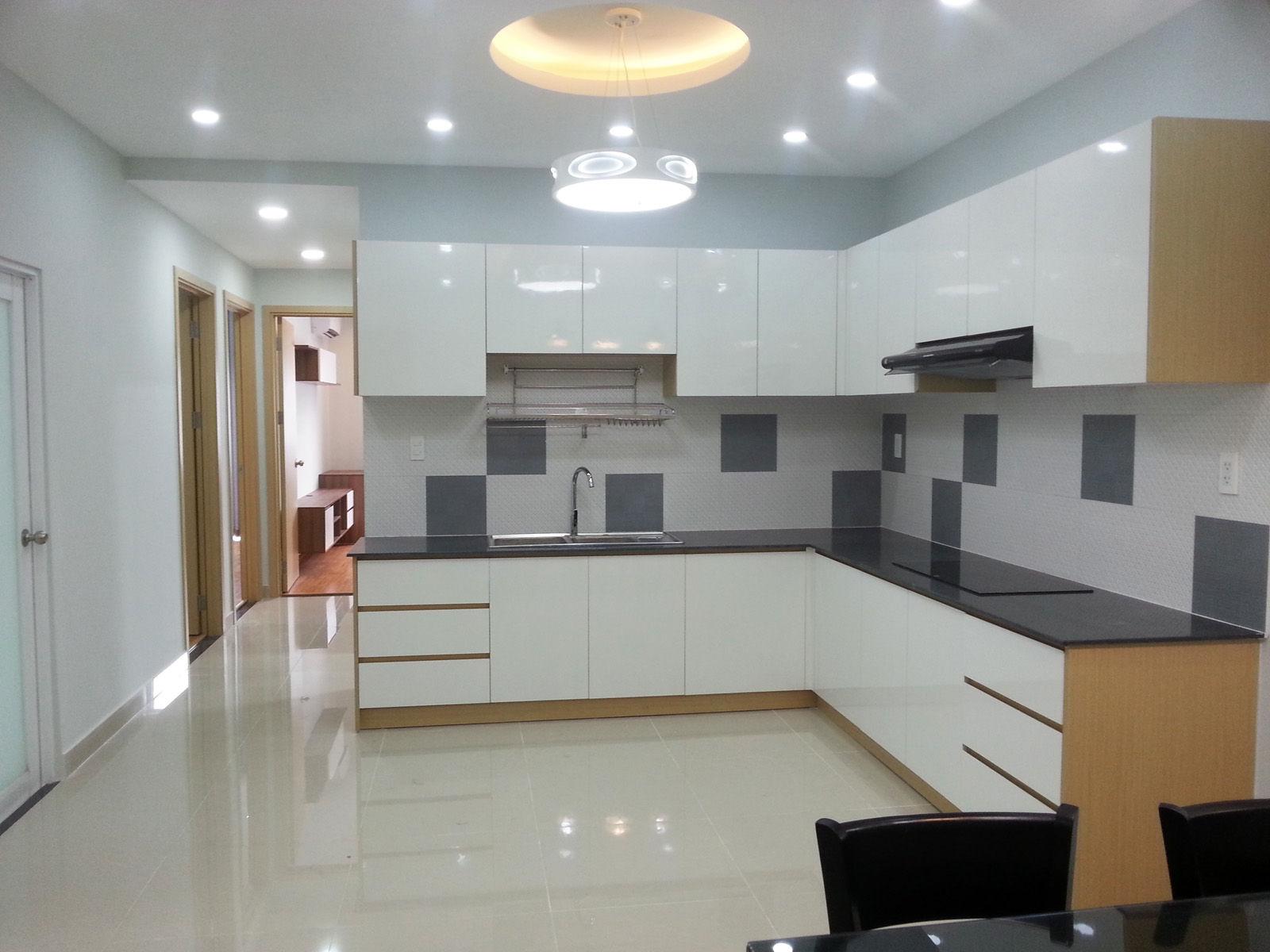 Phòng bếp căn hộ mẫu thực tế chung cư Orential Plaza