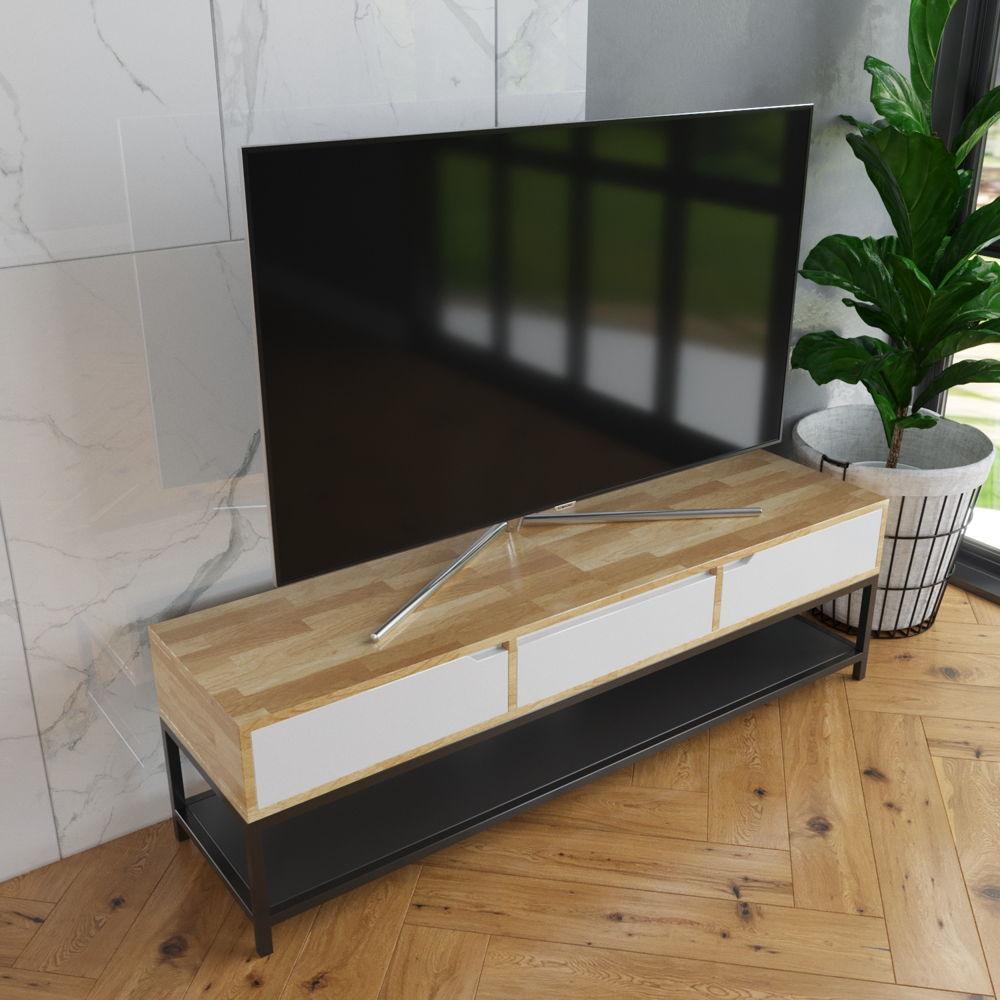 Kệ Tivi 3 hộc kéo chân sắt-SFKTV005