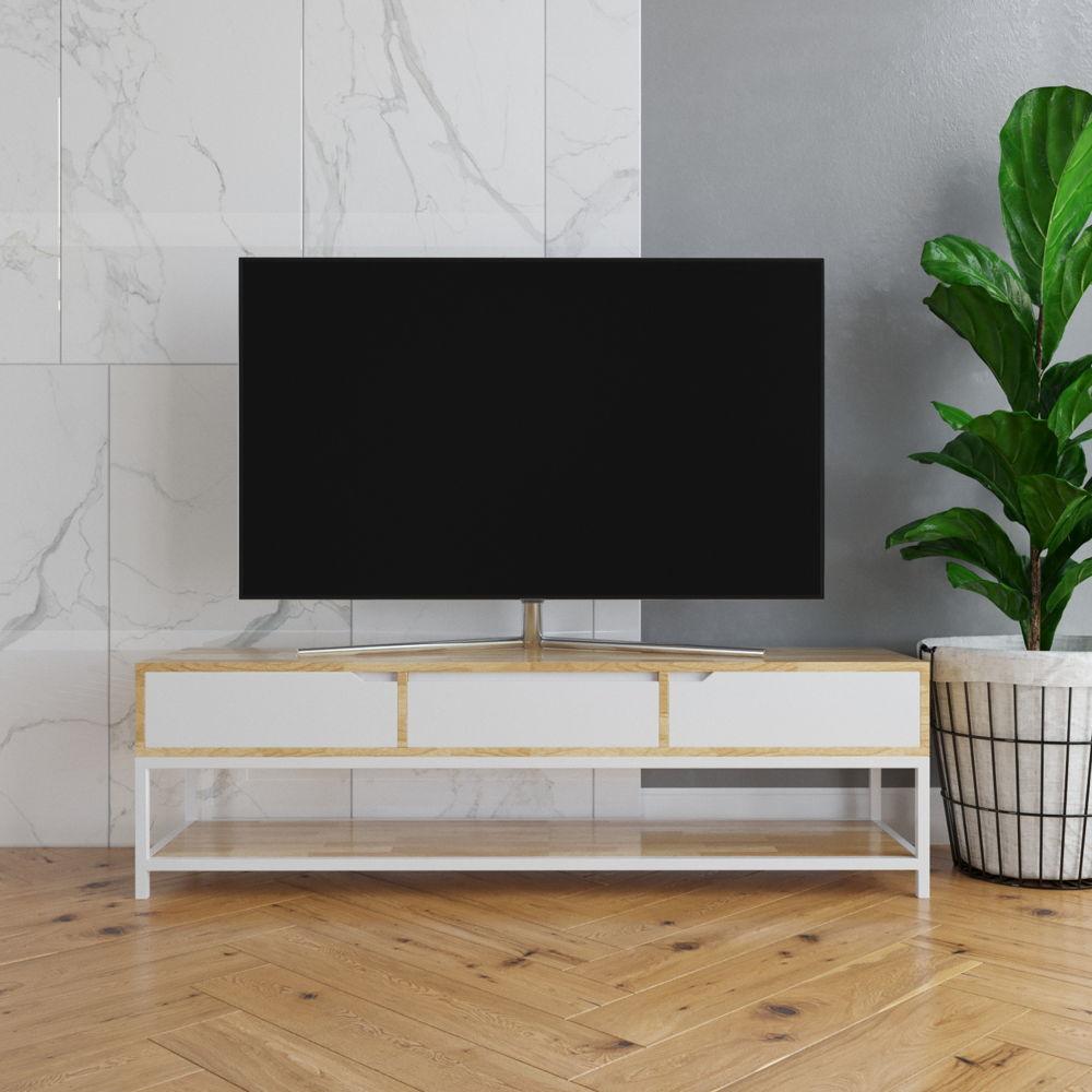 Kệ Tivi 3 hộc kéo chân sắt-SFKTV006