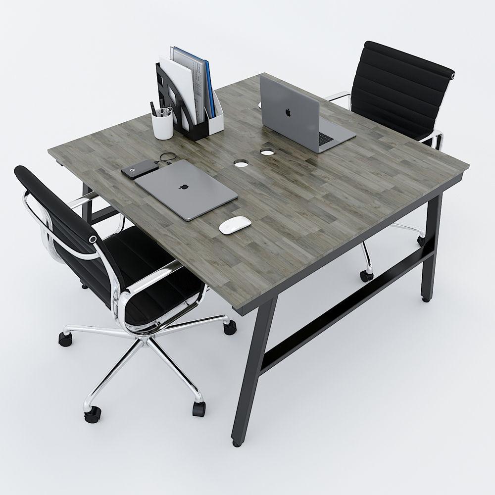 Cụm bàn làm việc 2 chỗ ngồi gỗ cao su chân sắt chữ A lắp ráp