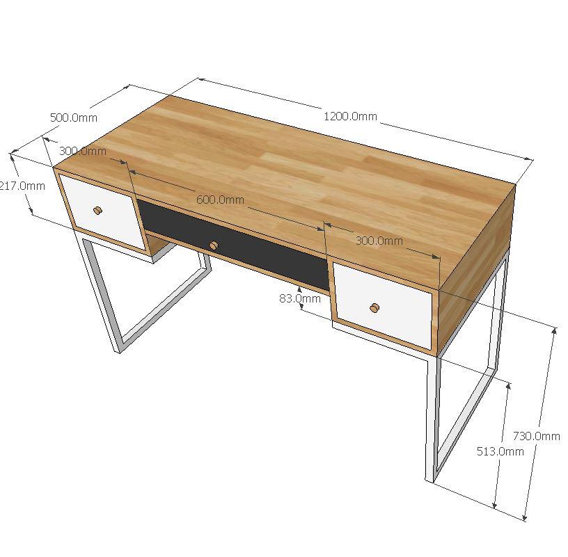 Kích thước chi tiết bàn trang điểm 3 hộc kéo