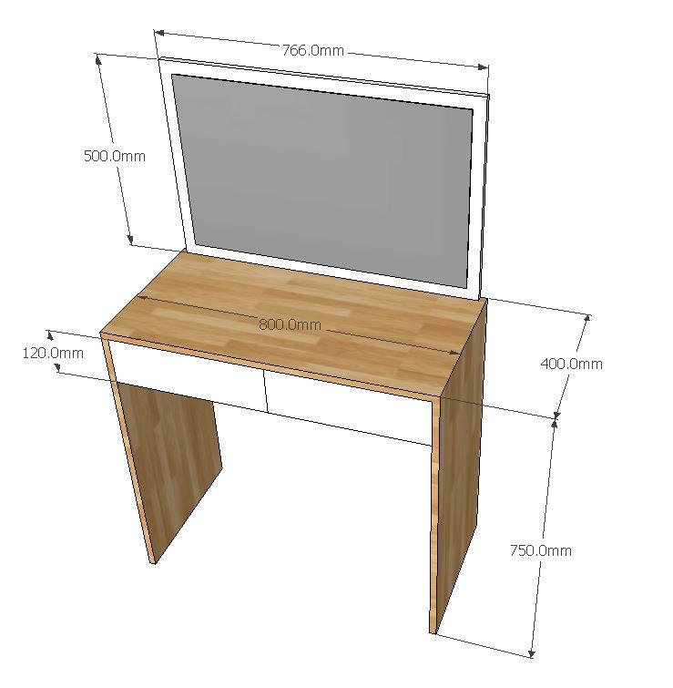 bàn trang điểm gỗ cao su