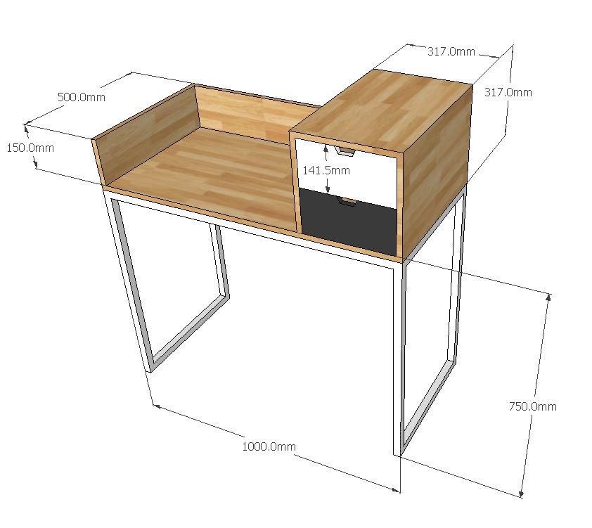 kích thước chi tiết bàn trang điểm