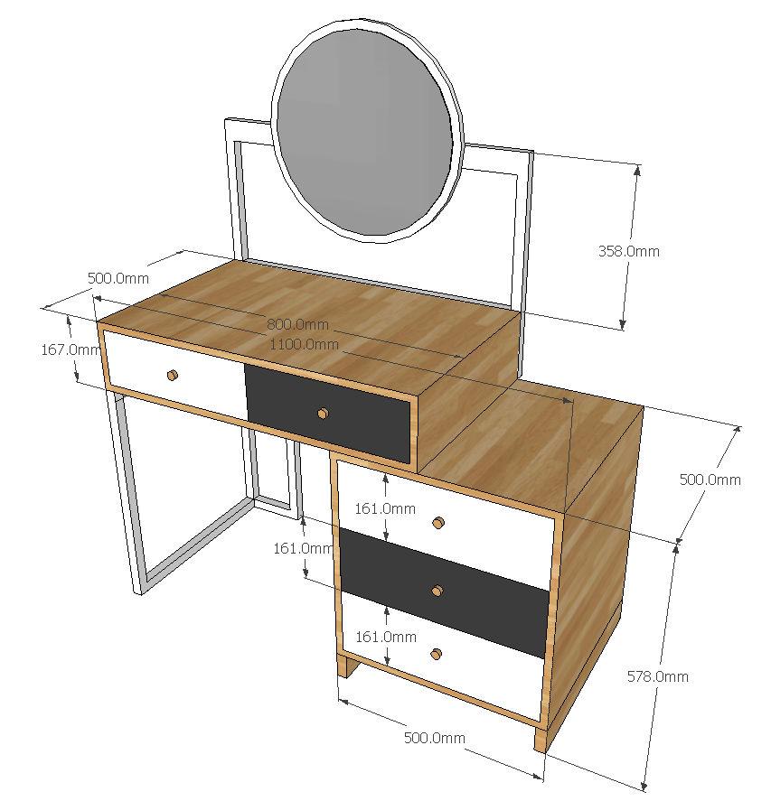 Kích thước chi tiết bàn trang điểm sfbtd001
