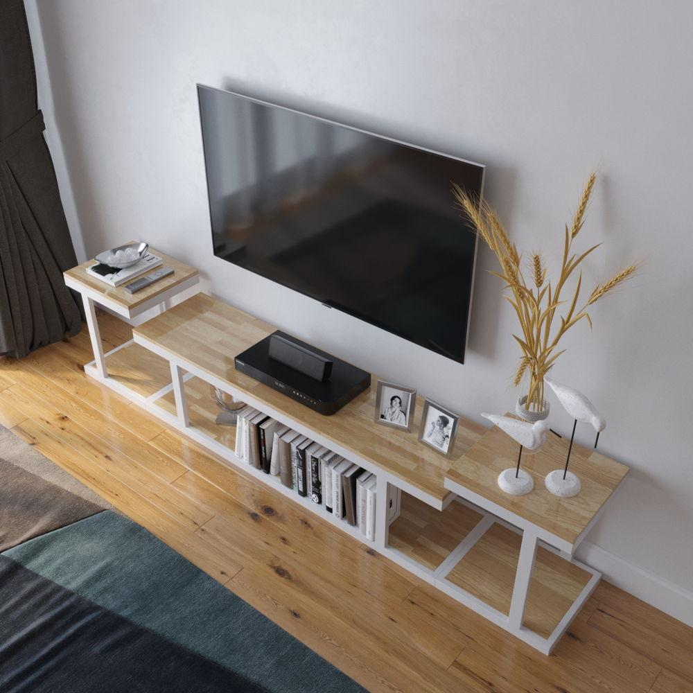 Hệ khung sắt sơn trắng với màu gỗ cao su sang trọng