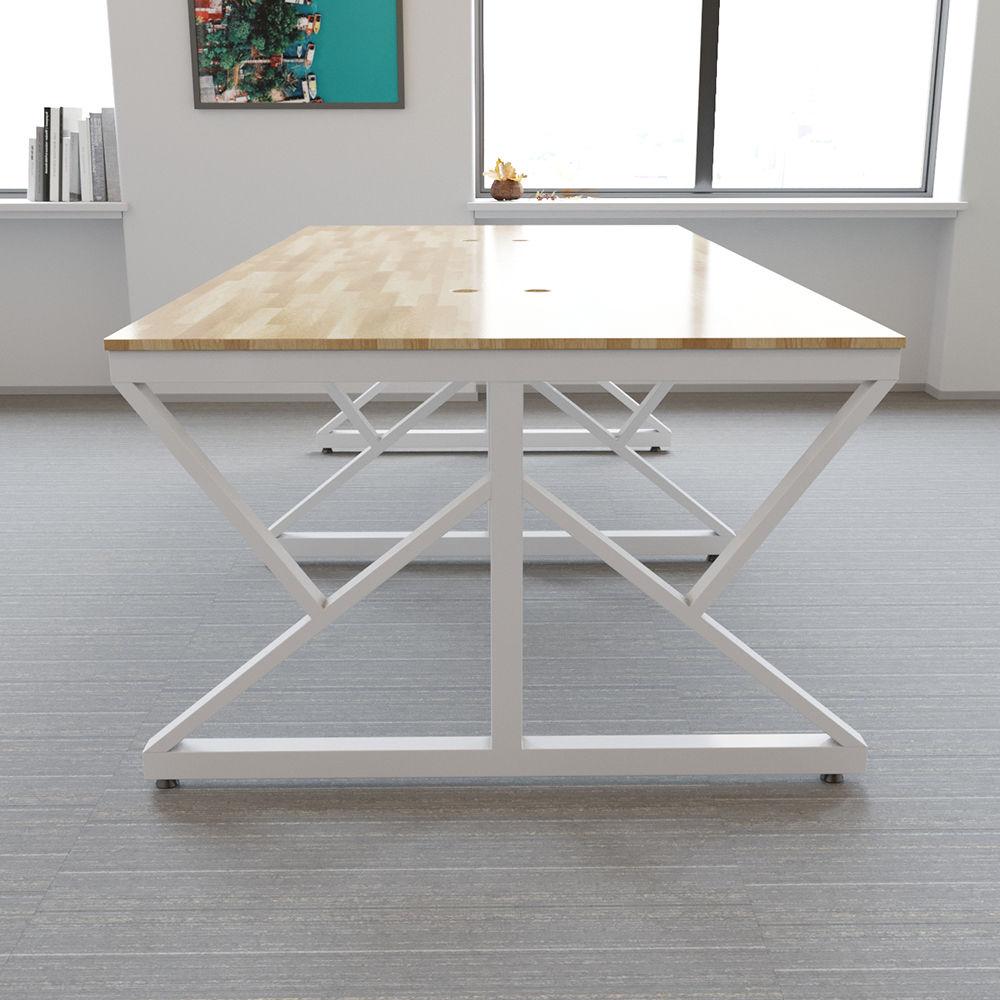 Bàn cụm 4 chỗ ngồi gỗ cao su chân sắt chữ K sơn tĩnh điện