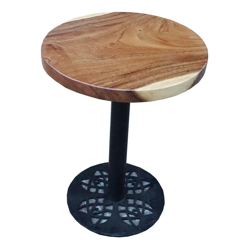 Bàn cafe tròn gỗ me tây đường kính 60cm chân sắt hoa văn
