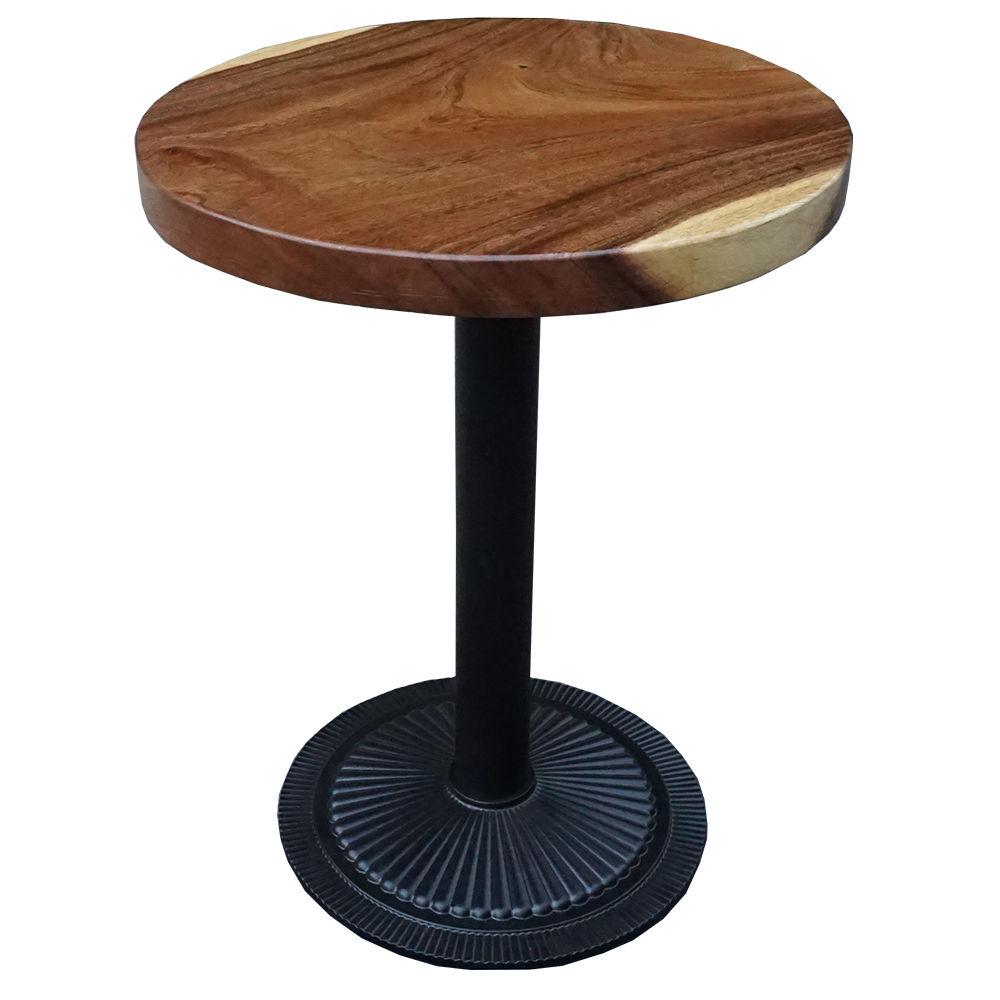 Bàn cafe tròn gỗ me tây đường kính 60cm chân sắt đế gang đúc