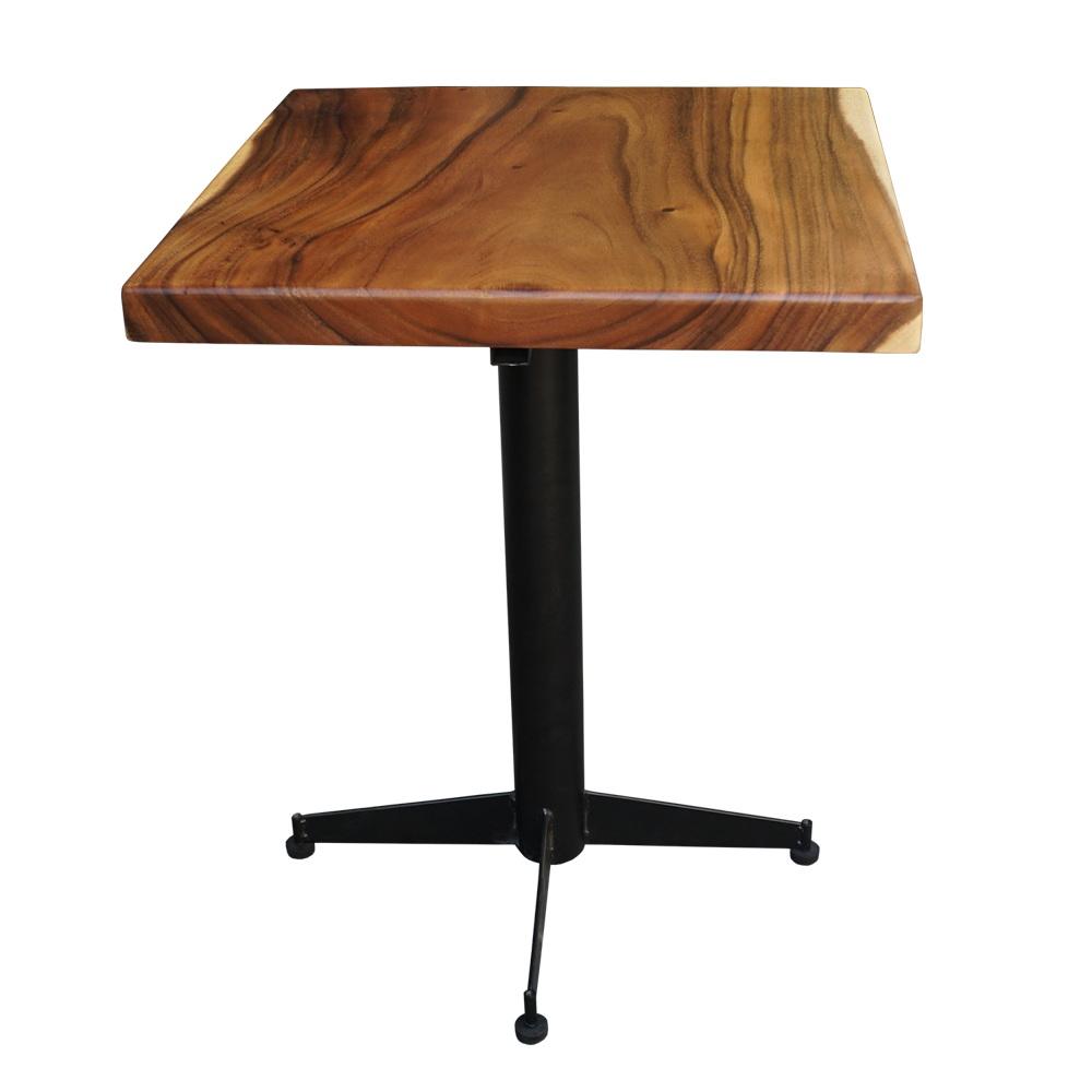 Bàn cafe gỗ me tây vuông 60cm chân sắt
