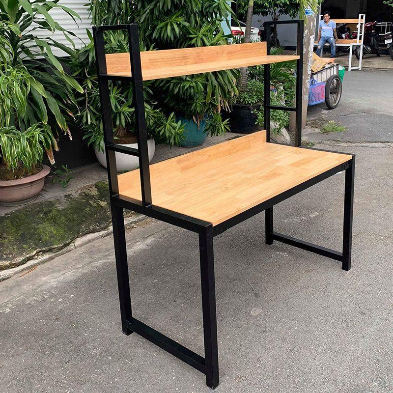 bàn làm việc kết hợp kệ khung sắt gỗ cao su