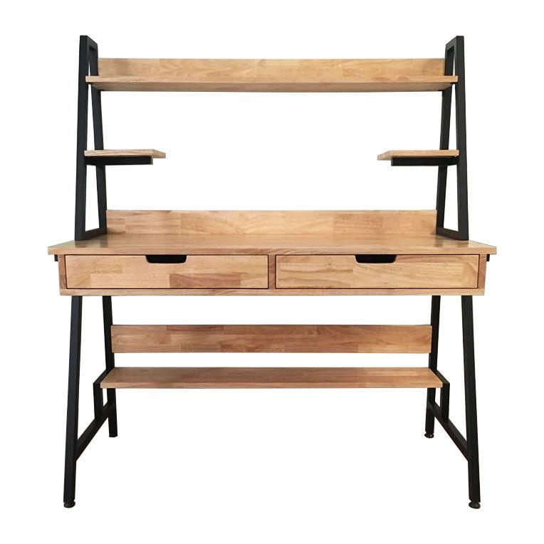 Bàn làm việc kết hợp kệ có hộc kéo gỗ cao su khung sắt lắp ráp