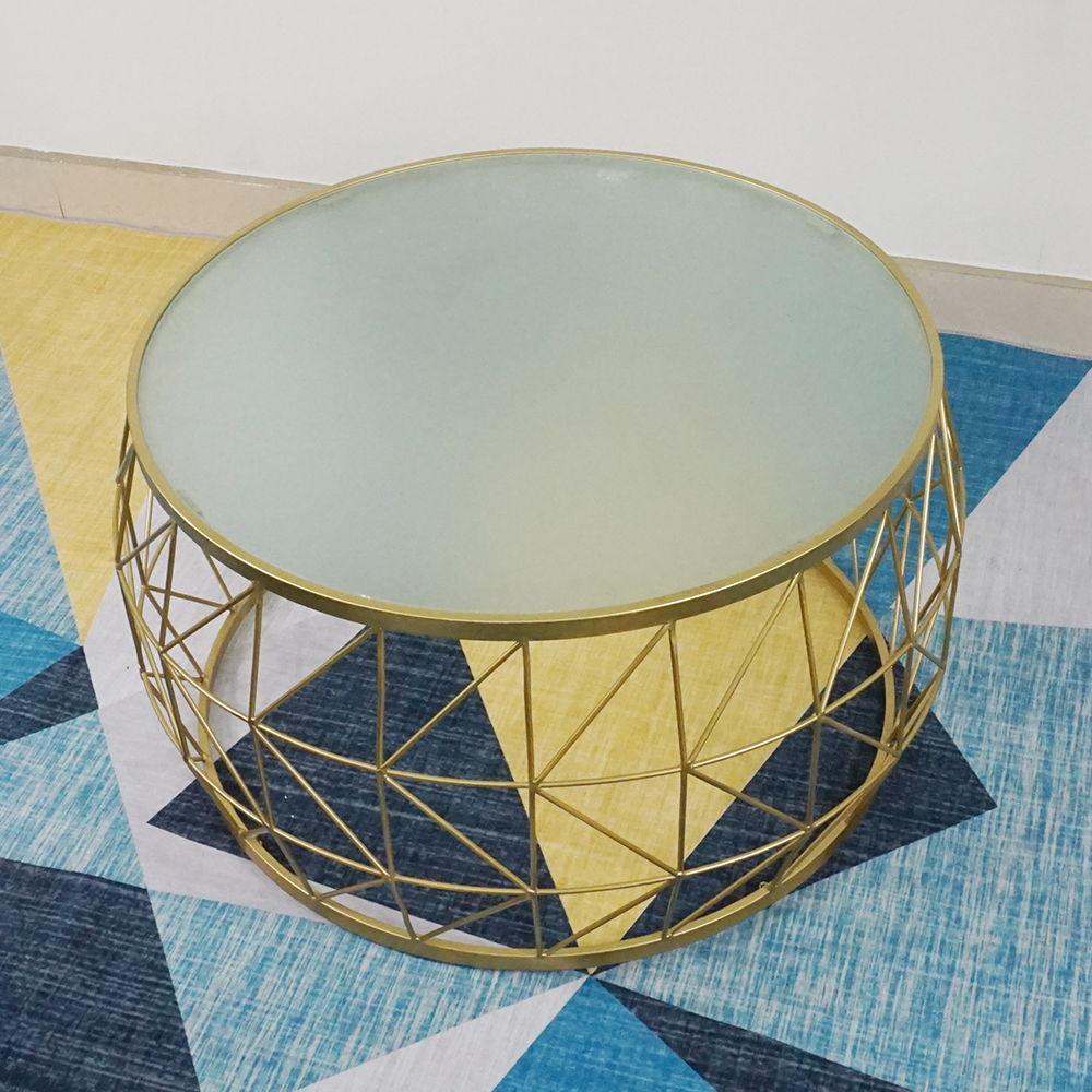 SFBT023 - Bàn Sofa hình Trống khung sắt Vàng đồng mặt kính mờ