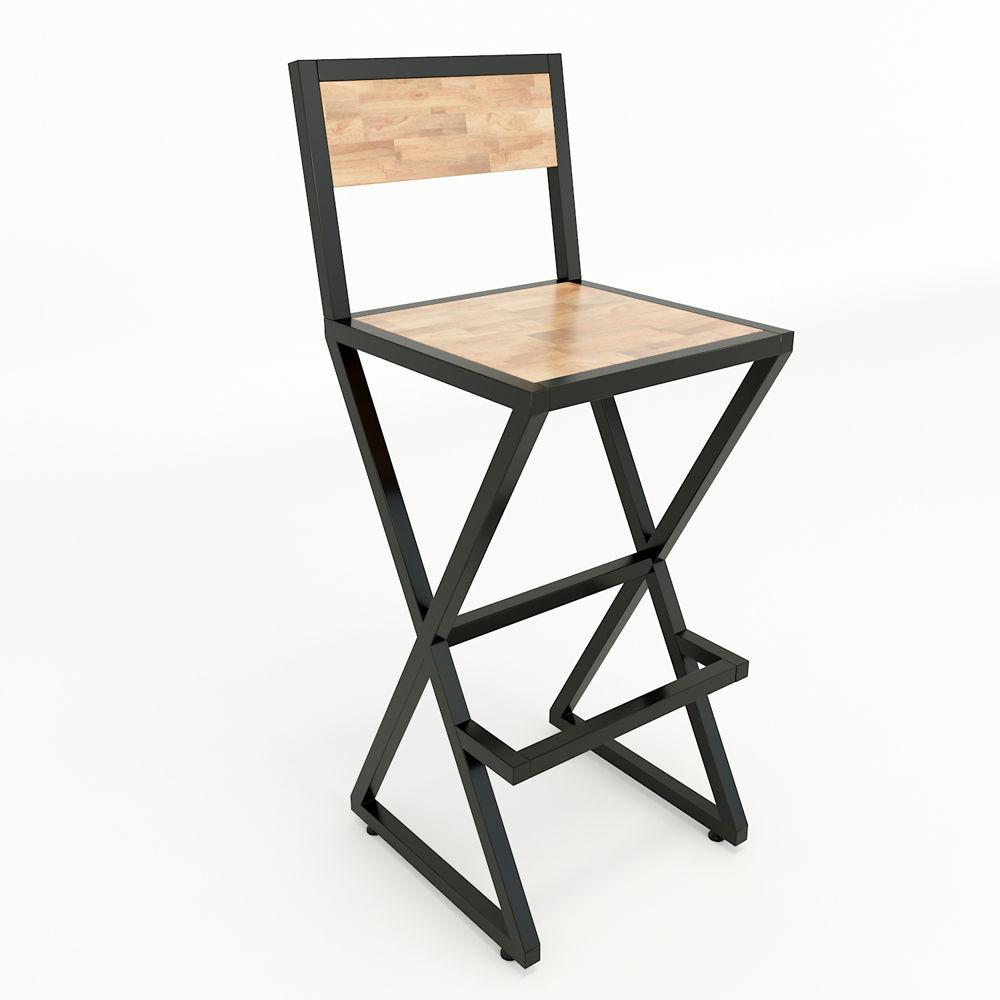 Ghế XBar khung sắt gỗ có tựa lưng