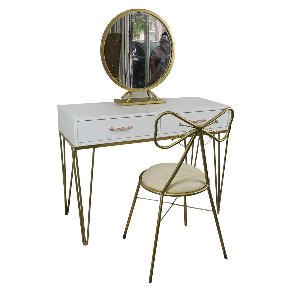 Bộ bàn trang điểm chân Hairpin vàng đồng kèm gương và ghế