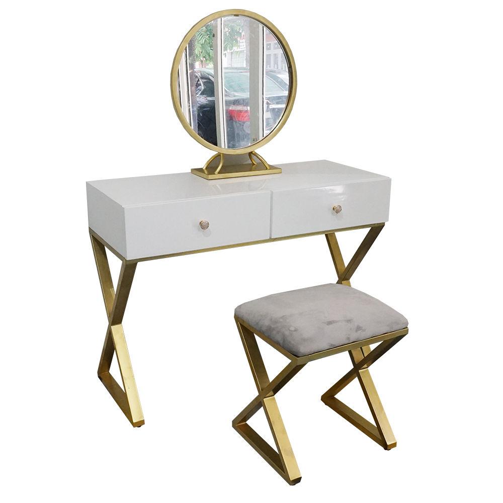 Bộ bàn trang điểm chữ X chân vàng đồng