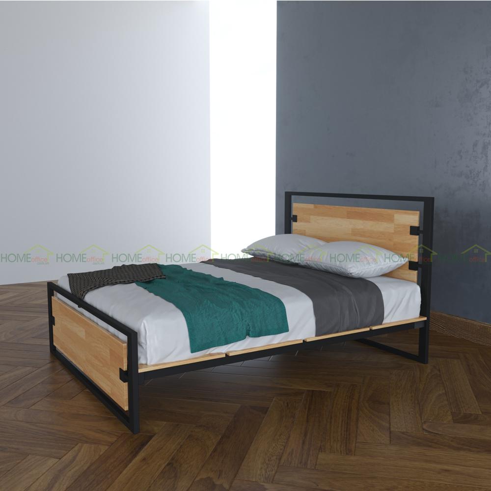 giường ngủ gỗ cao su khung sắt ferro