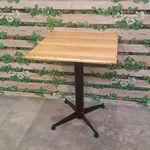 Bàn cafe gỗ cao su chân sắt hình vuông màu gỗ tự nhiên