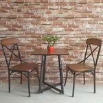 Bàn ghế cafe gỗ cao su vân gỗ sồi