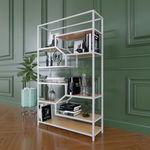 Kệ sách đơn giản khung sắt gỗ cao su - SFKS012