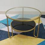 SFBT010 - Bàn Sofa tròn 2 tầng mặt kính khung sắt màu vàng đồng