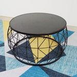 SFBT025 - Bàn Sofa hình trống khung sắt đen mặt kính đen