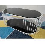SFBT019 - Bàn Sofa 2 tầng khung sắt sơn Trắng mặt kính đen
