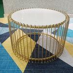 SFBT021 - Bàn Sofa Lồng chim màu vàng đồng mặt đá trắng
