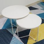 SFBT009 -Bộ 2 bàn Sofa chân tia chớm sơn trắng mặt đá trắng