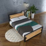 SFGN002 - Giường ngủ gỗ cao su khung sắt lắp ráp Ferrro