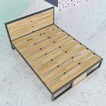 SFGN004 - Giường ngủ đôi lớn gỗ cao su khung sắt lắp ráp