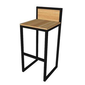GCFC002 - Ghế cafe, bar chân cao sắt gỗ đơn giản