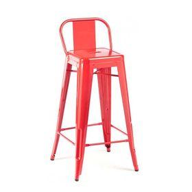Ghế cafe tolix cao màu đỏ