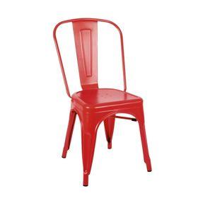 Ghế cafe tolix thấp có tựa lưng màu đỏ