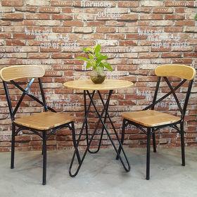 Bàn cafe gỗ cao su chân sắt sơn tĩnh điện